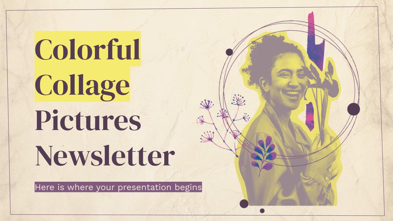 Bulletin d'information avec des collages colorés : Modèles de présentation