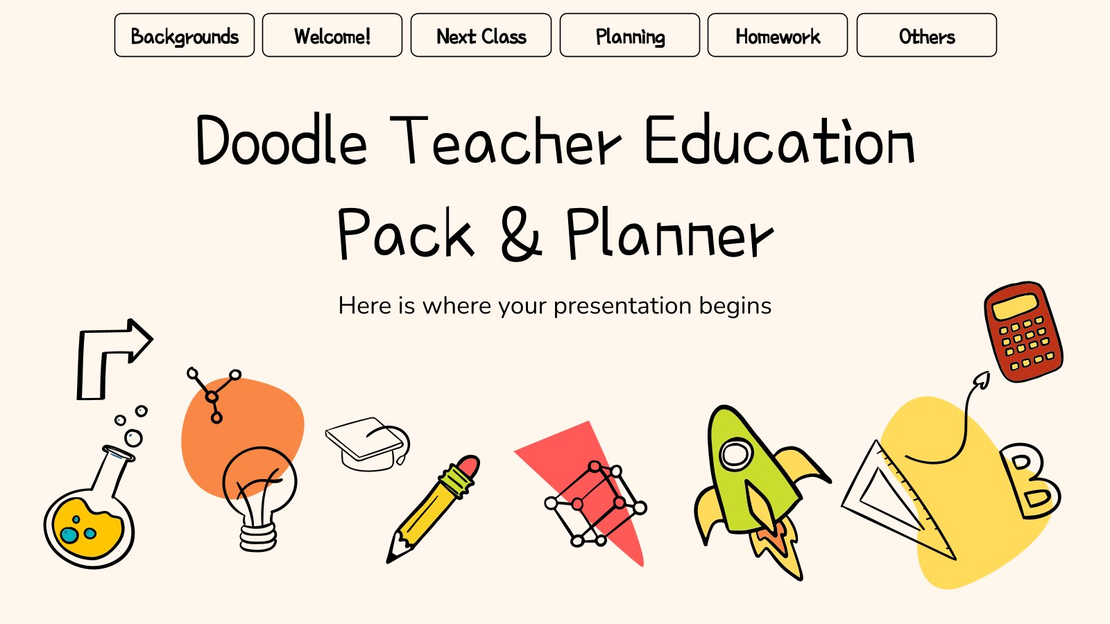 Doodle Lehrer Pack & Planer Präsentationsvorlage