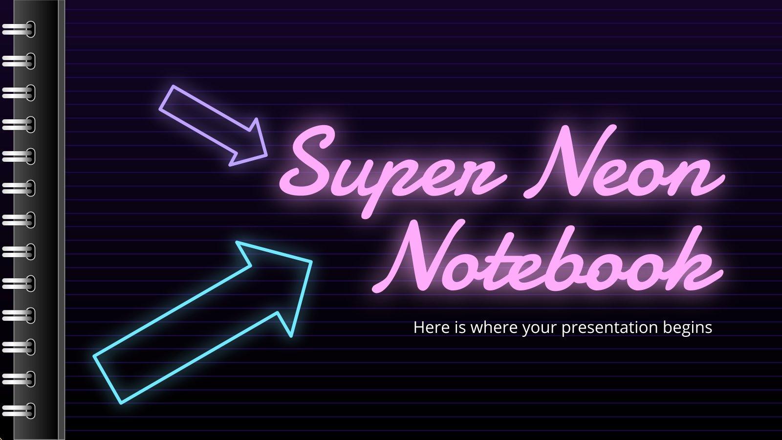 Modelo de apresentação Caderno super neon