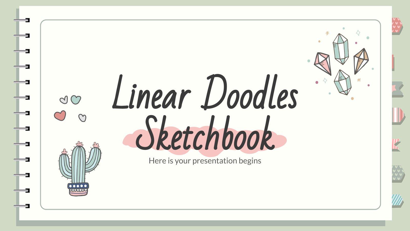 Lineares Skizzenbuch mit Doodles Präsentationsvorlage