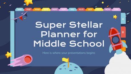 Plantilla de presentación Agenda superestelar para primaria