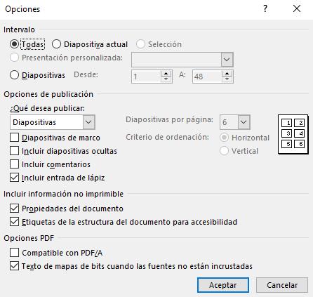 Opciones para presentaciones en PDF