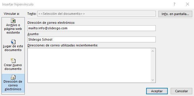 Vincular a una dirección de correo electrónico