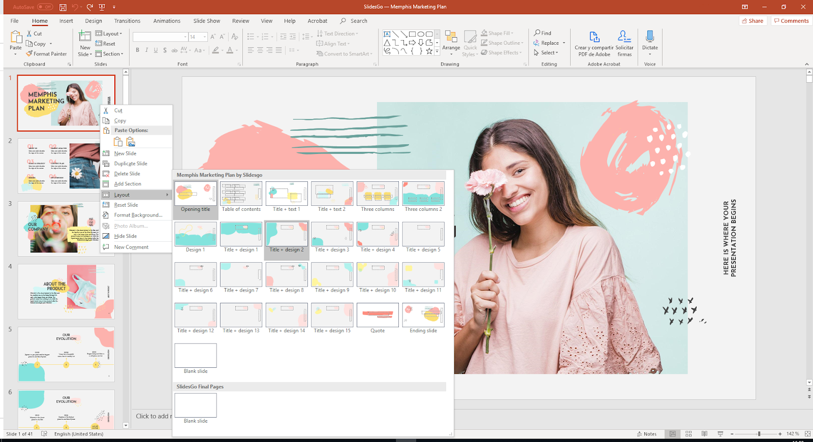 Layout options in PowerPoint