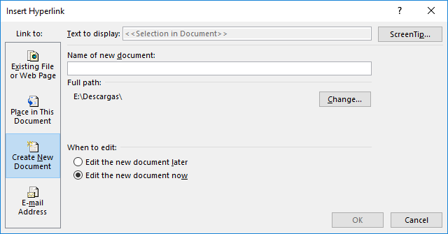 Linking to a new document