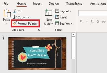 Format Painter tool