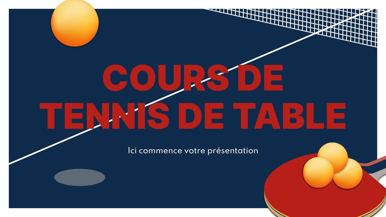 Cours de Tennis de Table presentation template