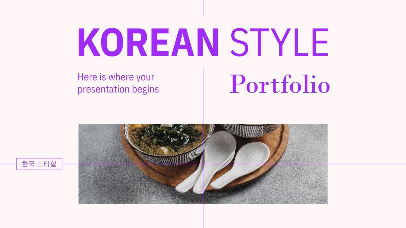 Portfolio im Koreanischer Stil Präsentationsvorlage