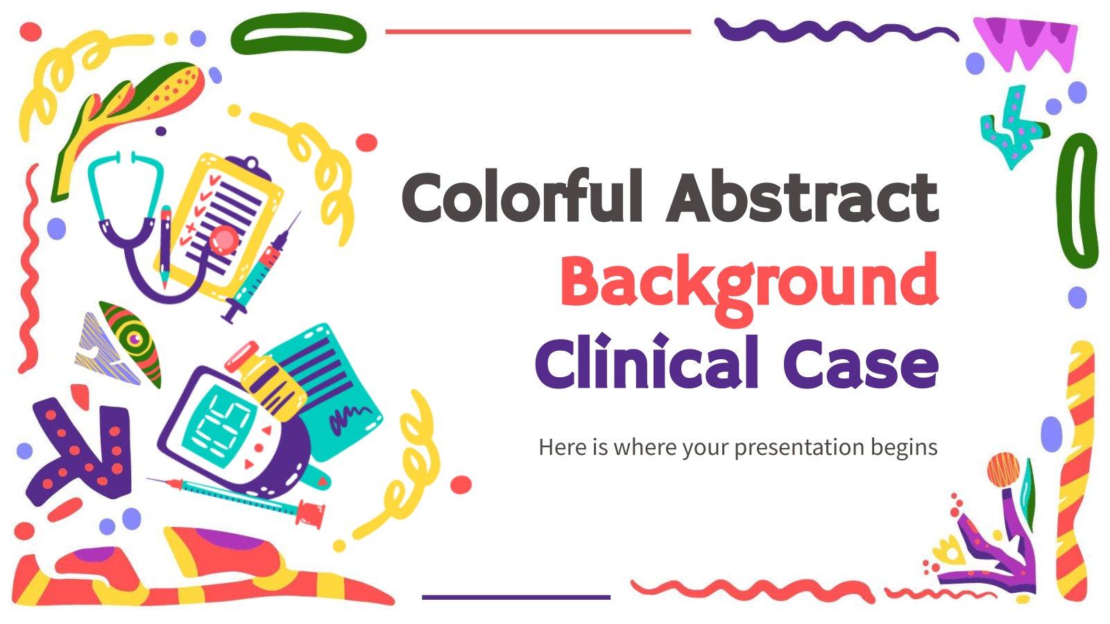 Modelo de apresentação Caso clínico com plano de fundo abstrato e colorido