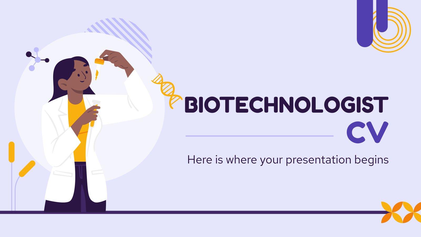 CV eines Biotechnologen Präsentationsvorlage