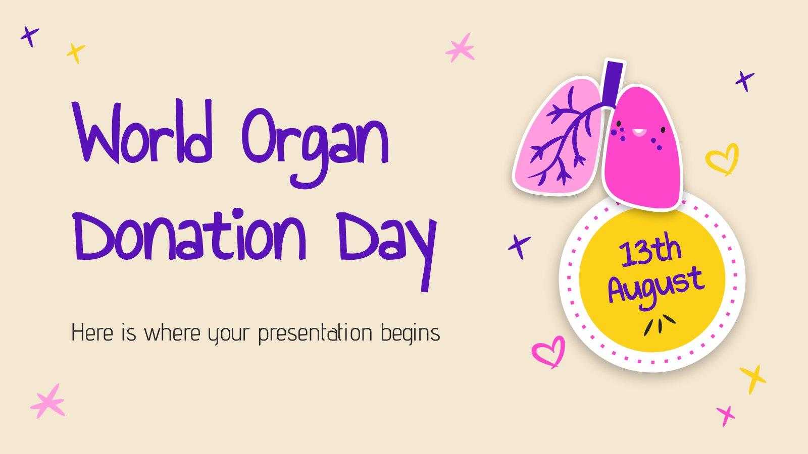 Plantilla de presentación Día Mundial de la Donación de Órganos