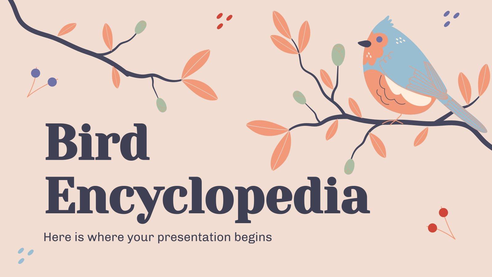 Plantilla de presentación Enciclopedia de pájaros