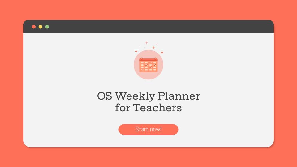 Plantilla de presentación Planificador semanal para docentes