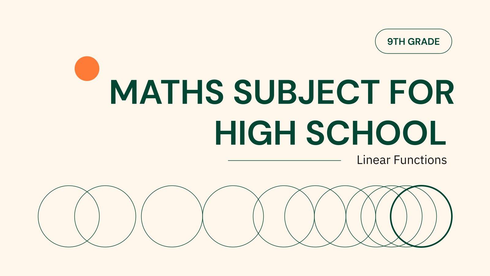 Mathématiques au lycée : Fonctions linéaires : Modèles de présentation