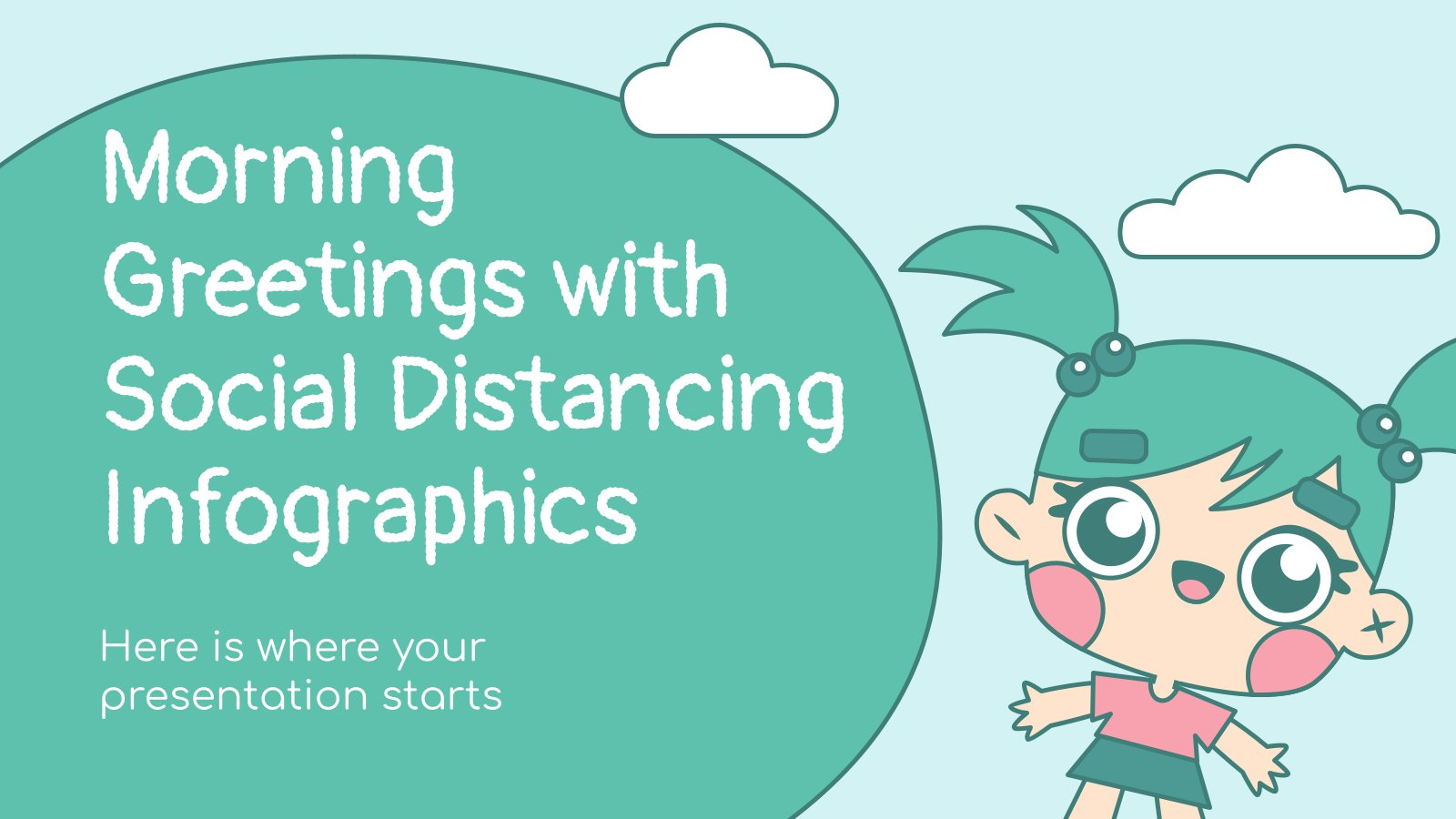 Morning Greetings with Social Distancing Infographics presentation template