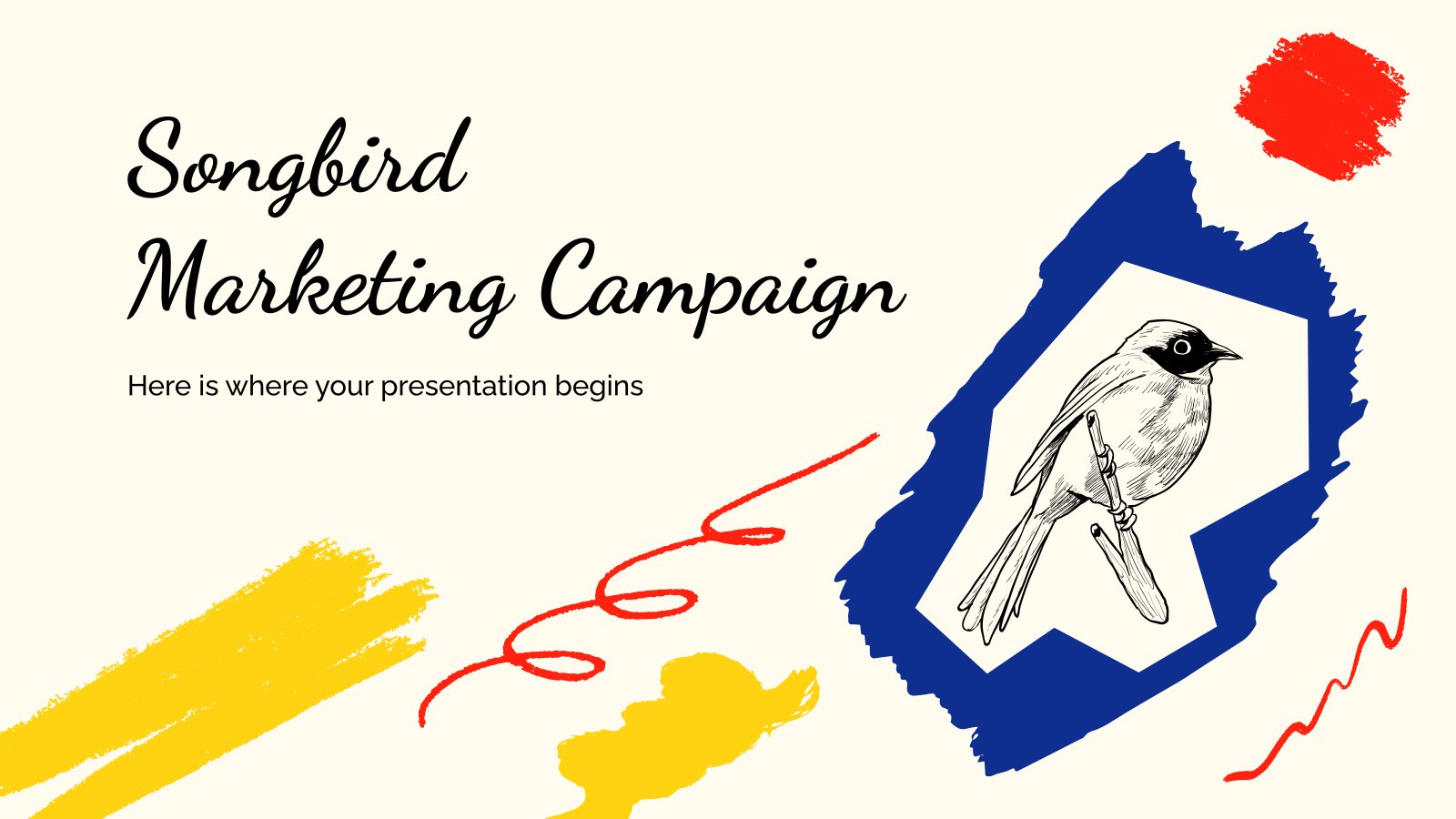 Marketingkampagne mit Singvögeln Präsentationsvorlage
