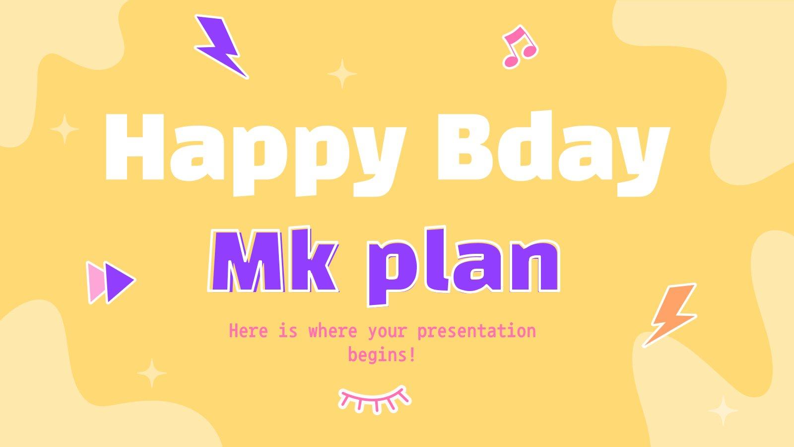 Happy Bday MK Plan Präsentationsvorlage