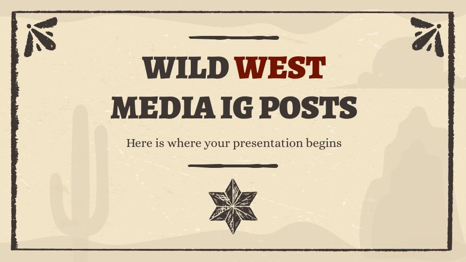 Instagram-Posts aus dem Wilder Westen Präsentationsvorlage