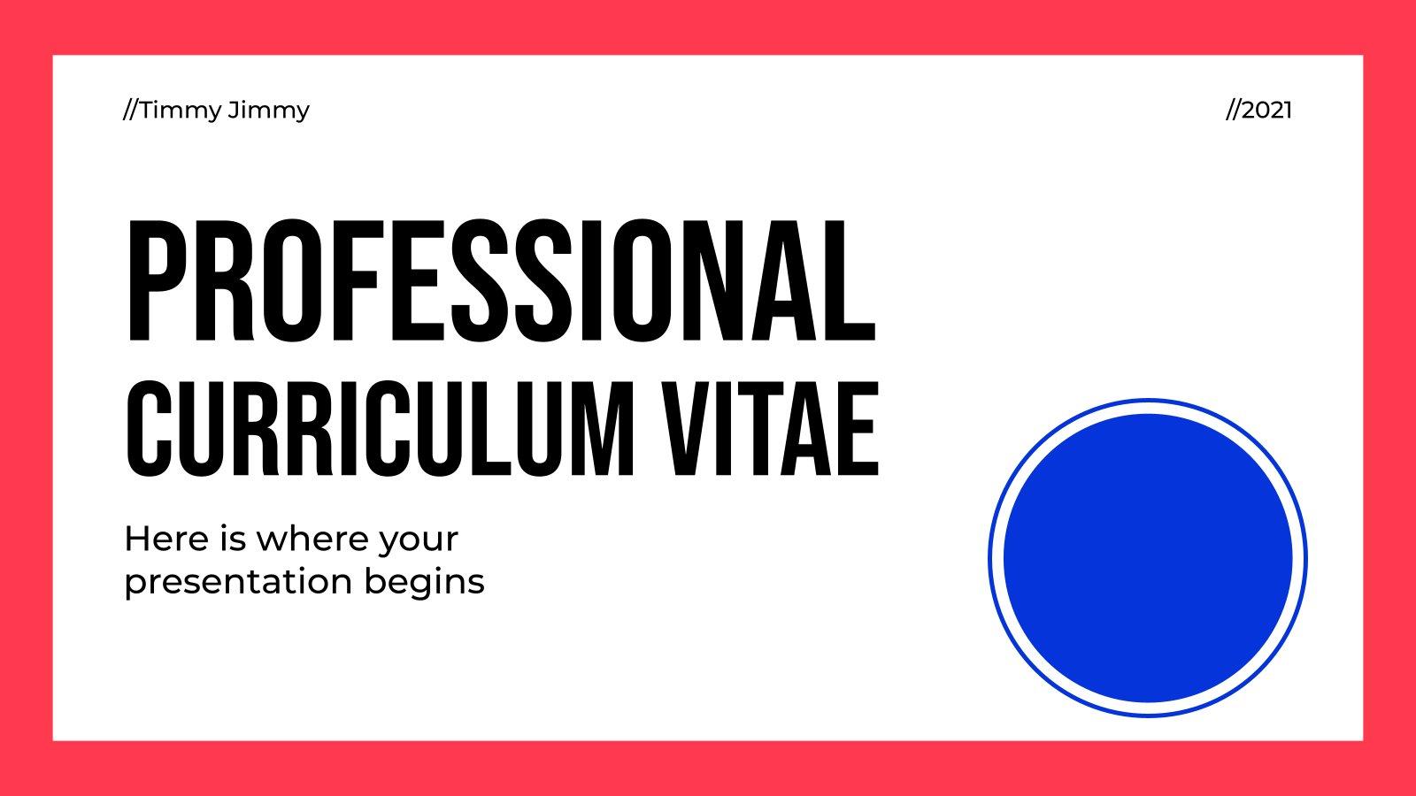 Plantilla de presentación Curriculum vitae profesional