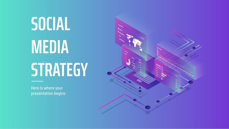 Modelo de apresentação Estratégia de redes sociais isometria e degradê