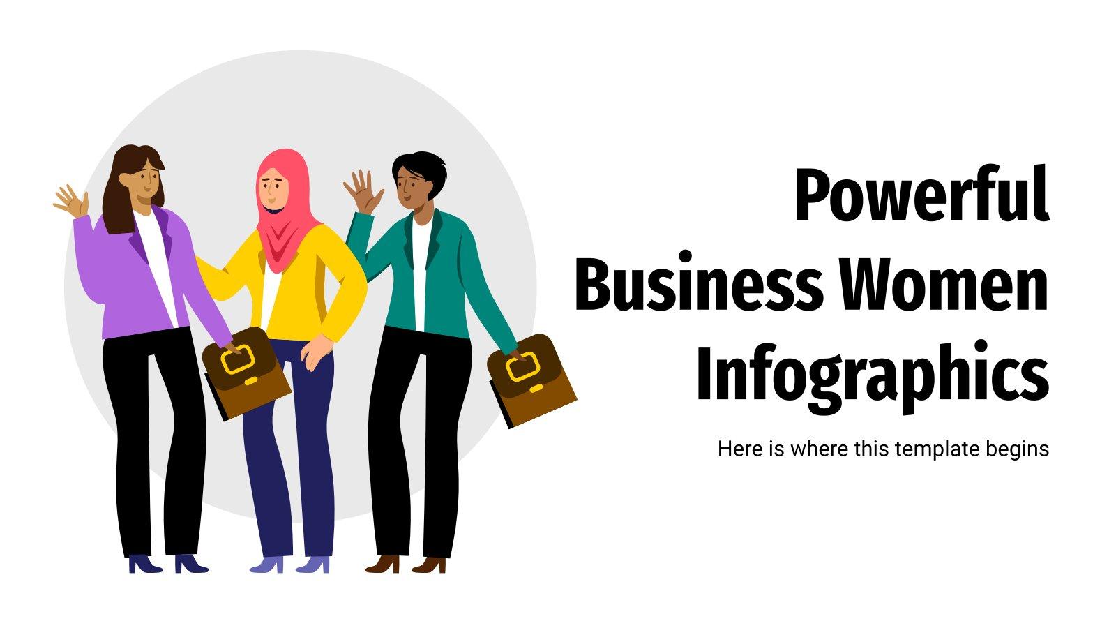 Modelo de apresentação Infográficos de mulheres de negócio poderosas