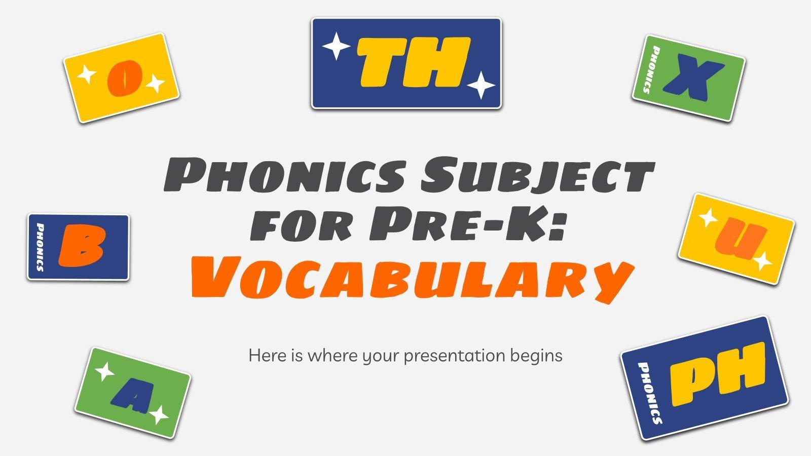 Modelo de apresentação Fonética para pré-escola: Vocabulário