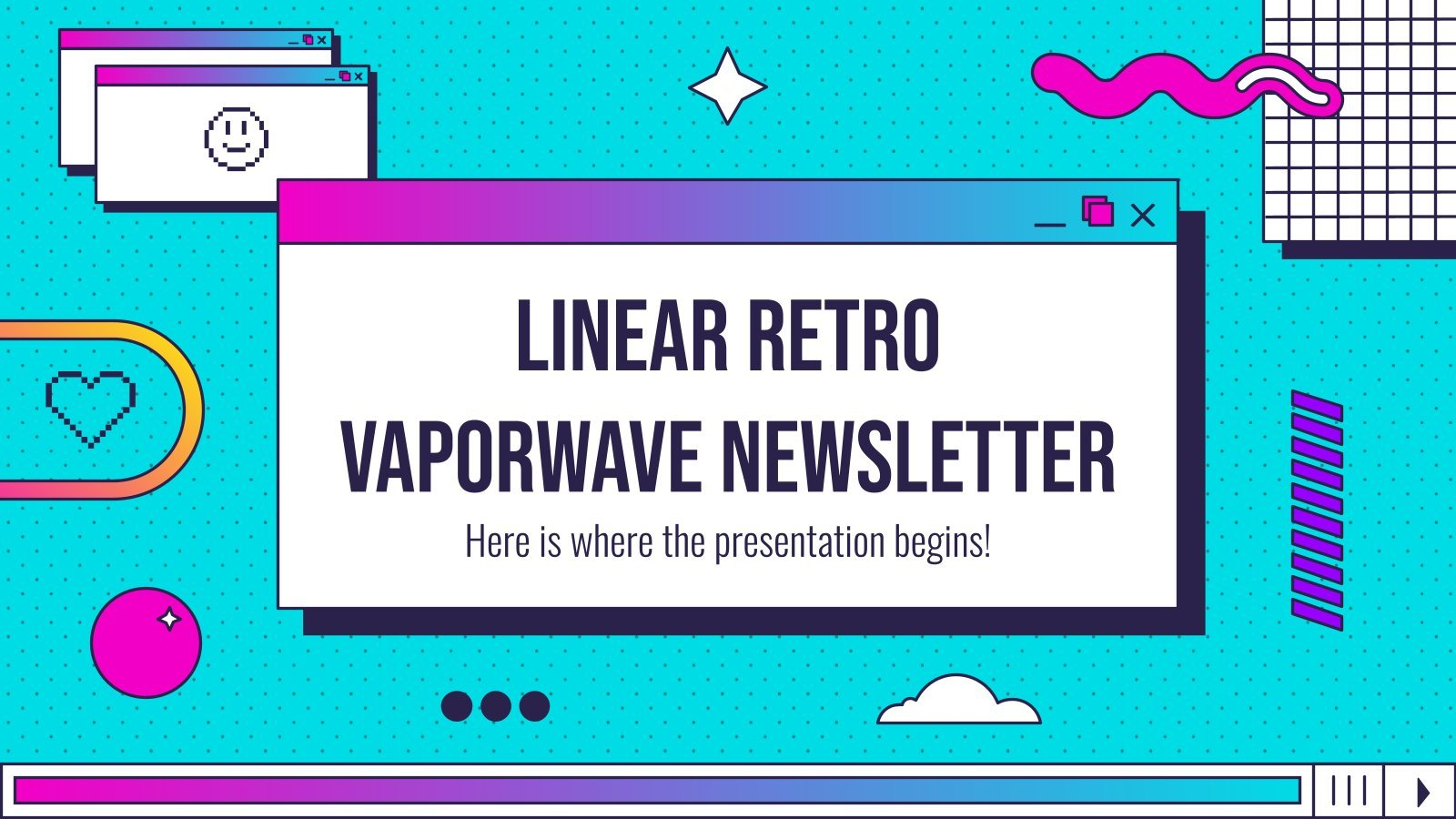 Linear Retro Vaporwave Newsletter presentation template