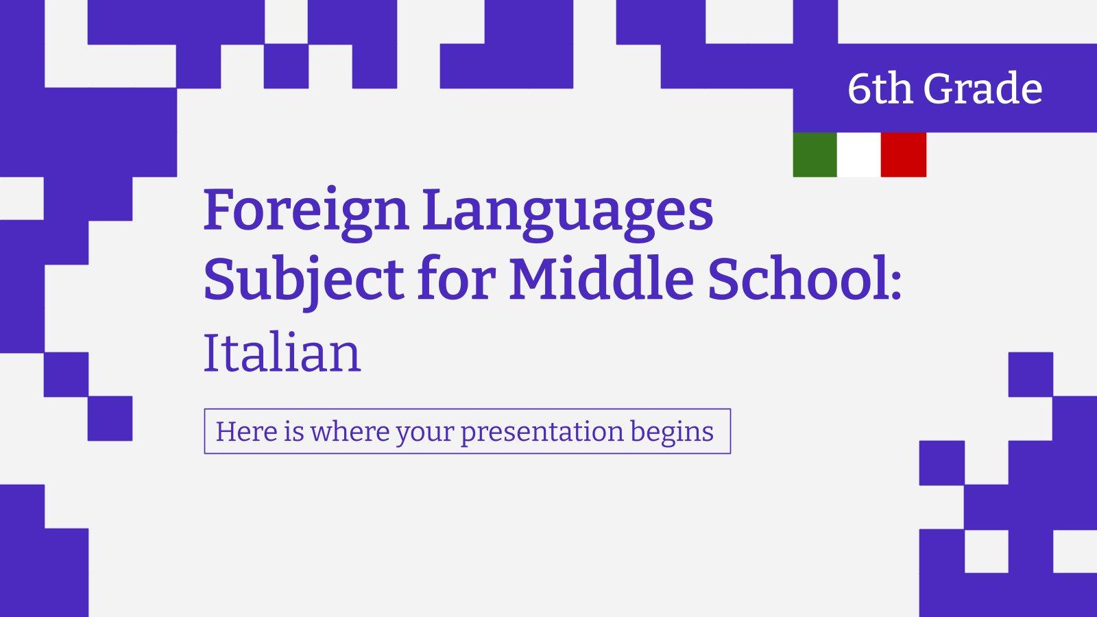 Plantilla de presentación Lengua extranjera para primaria: Italiano