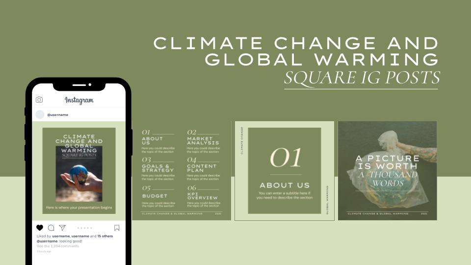 Modelo de apresentação Postagens da IG de mudança climática e aquecimento global