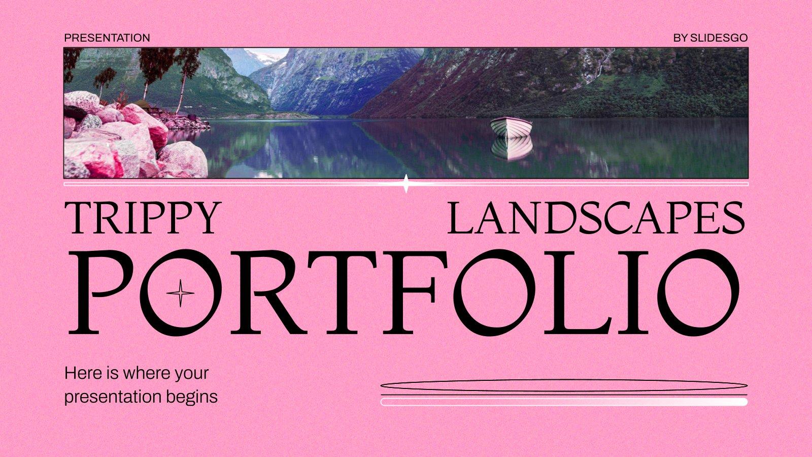 Plantilla de presentación Portafolio con paisajes de colores extraños