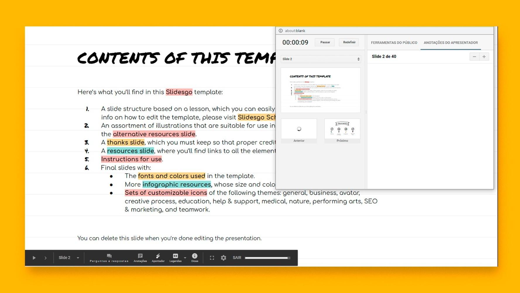 Como adicionar e trabalhar com anotações do apresentador no Google Slides | Tutoriais e Dicas de apresentação