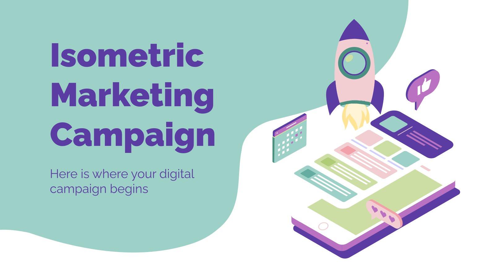 Isometrische Marketingkampagne Präsentationsvorlage