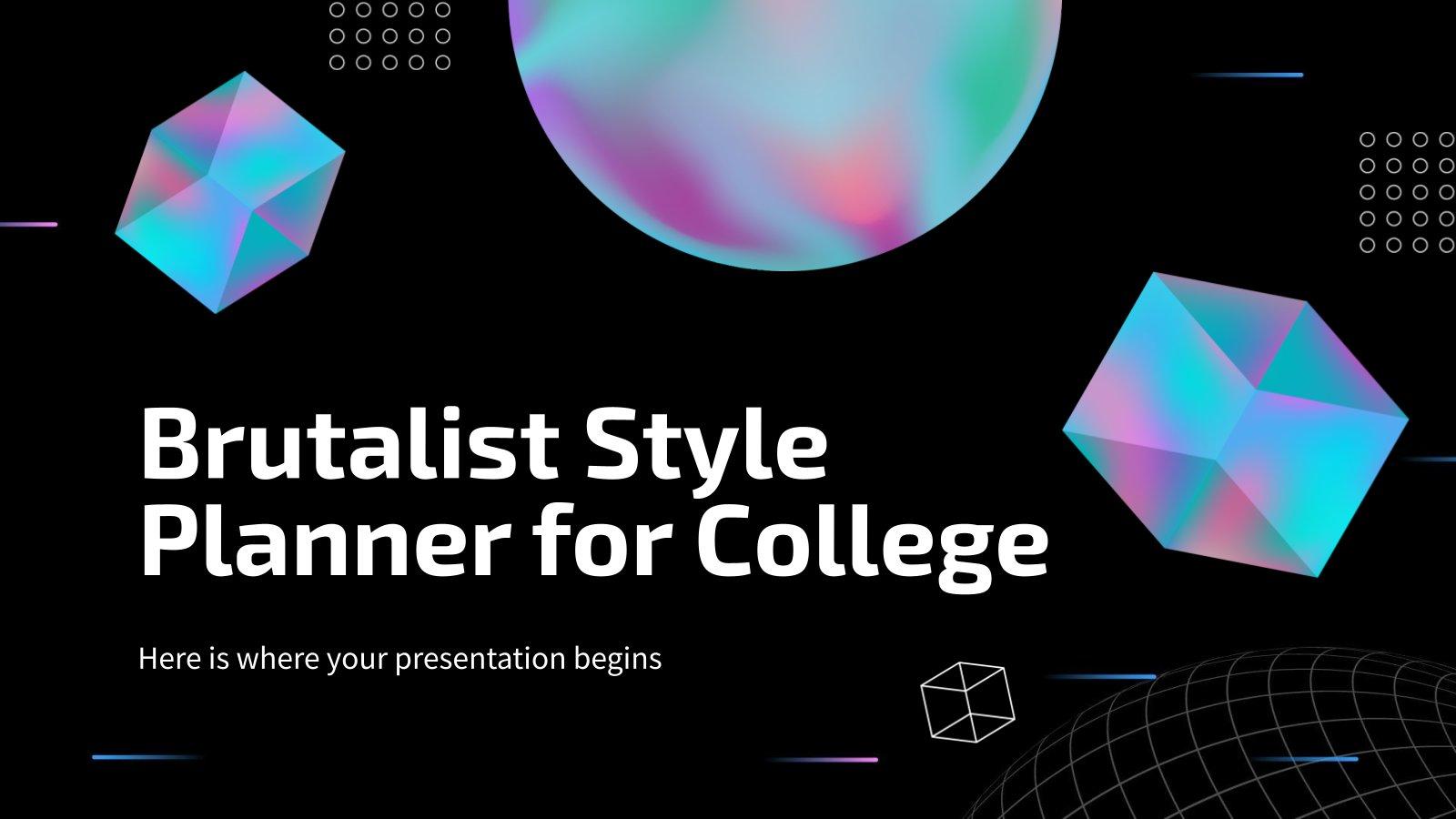 Planificateur de style brutaliste pour le collège : Modèles de présentation