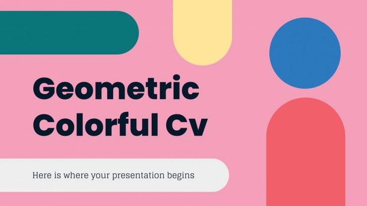 Modelo de apresentação CV geométrico colorido