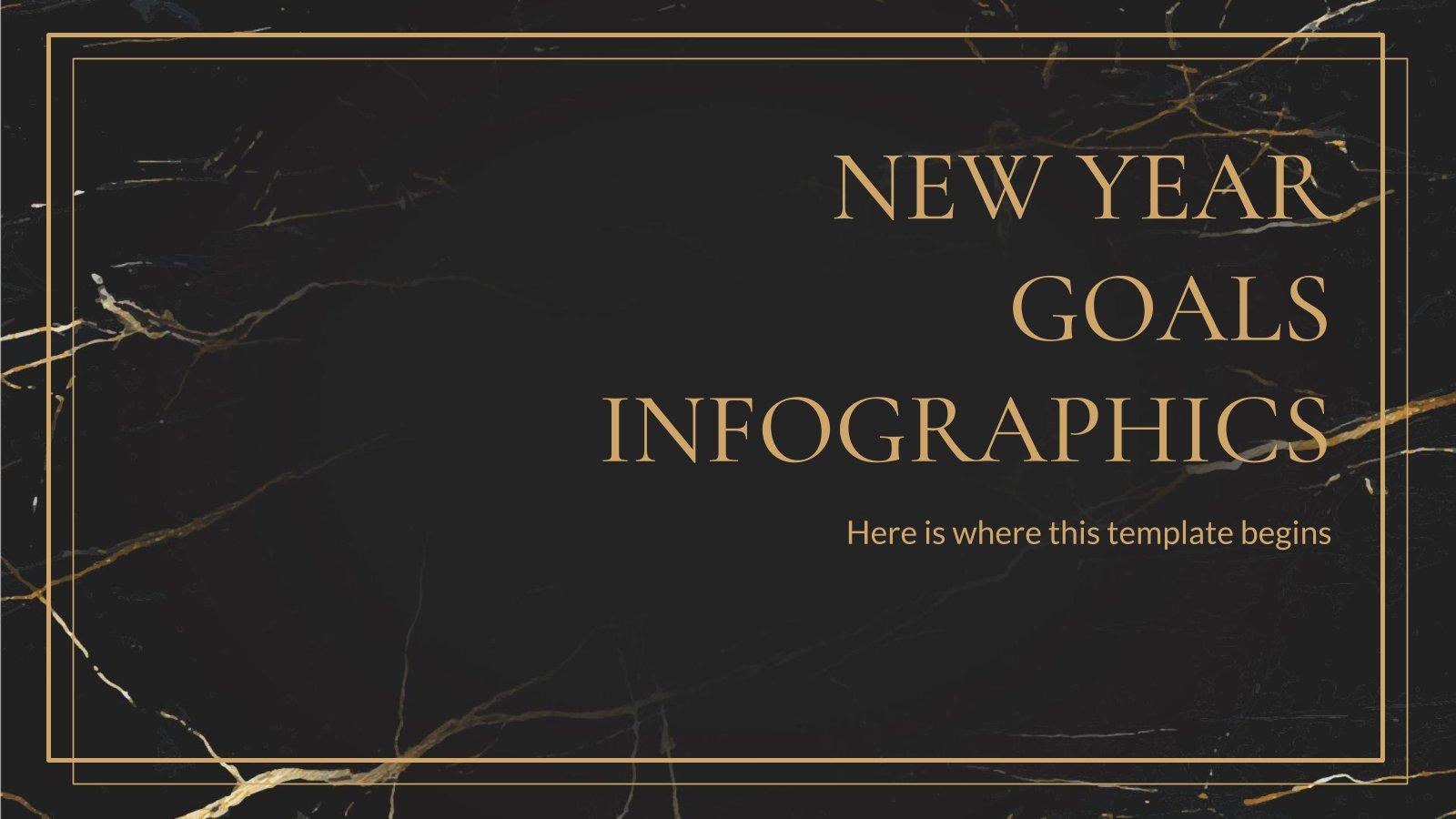Modelo de apresentação Infográficos metas de Ano Novo