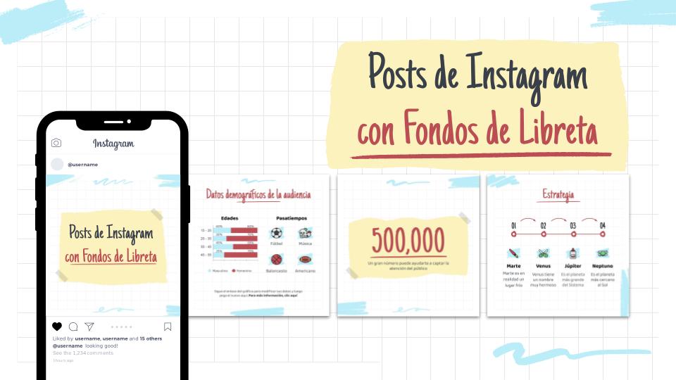 Modelo de apresentação Postagens do Instagram com planos de fundo de cadernos