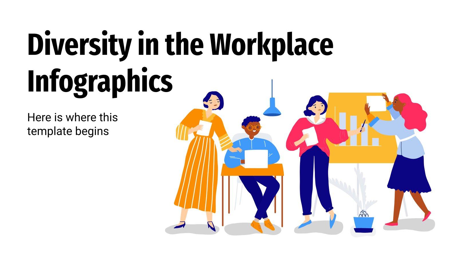 Modelo de apresentação Infográficos da diversidade no local de trabalho