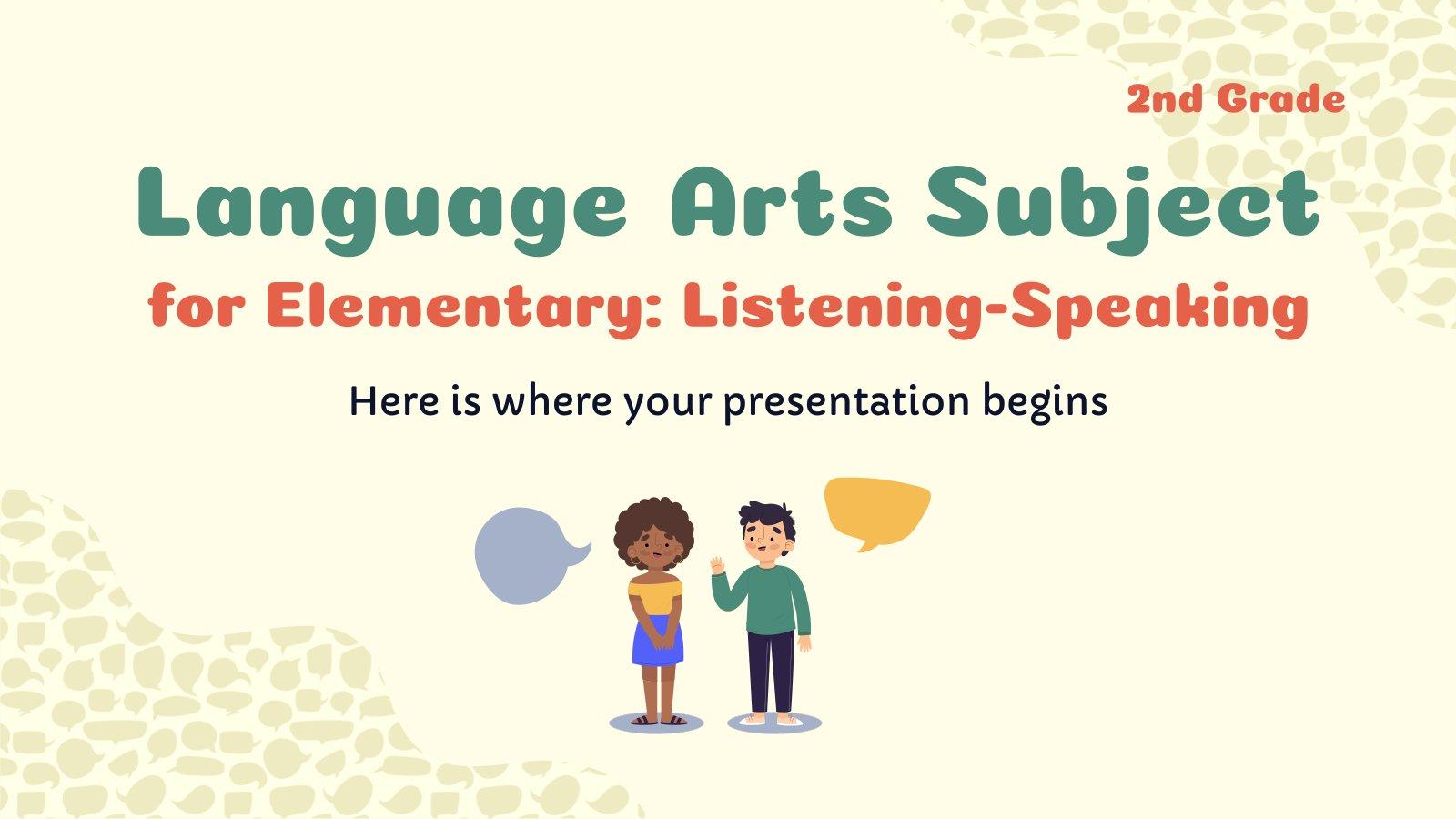 Plantilla de presentación Lengua para primaria: Escuchar y hablar