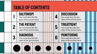 Klinischer fall über Farbenfehlsichtigkeit mit koreanischer Stil Präsentationsvorlage