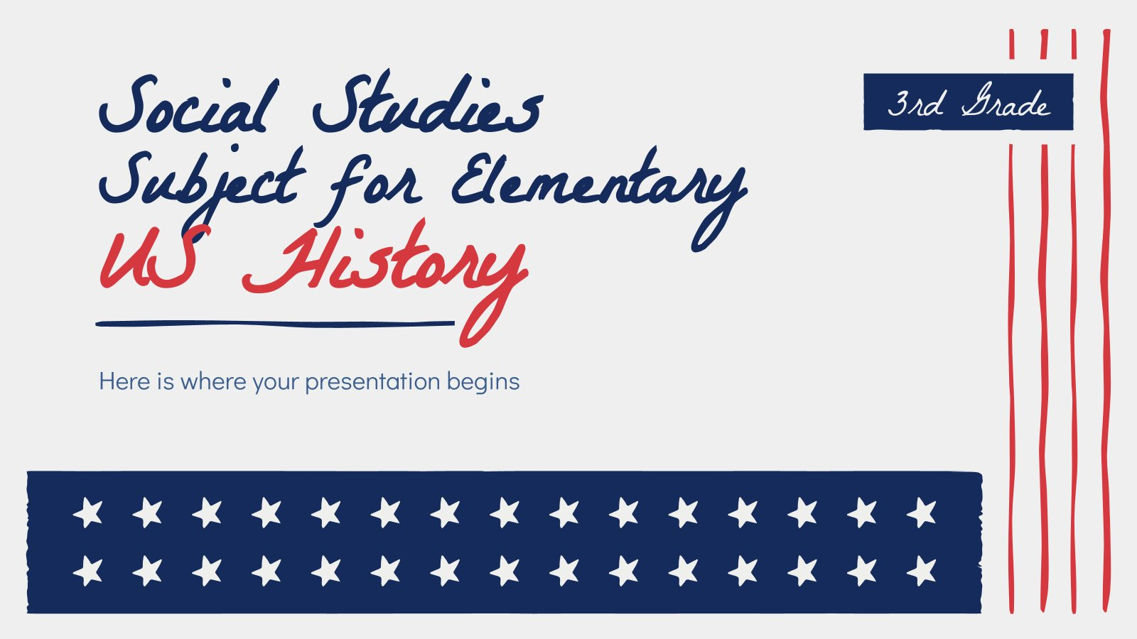 Social Studies Subject for Elementary - 3rd Grade: US History presentation template
