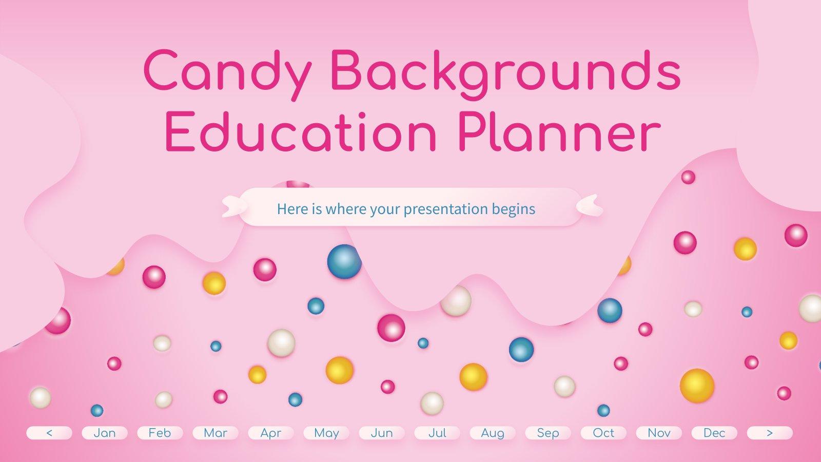 Plantilla de presentación Agenda educativa con fondos de caramelo