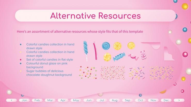 Modelo de apresentação Planejador com planos de fundo de doces