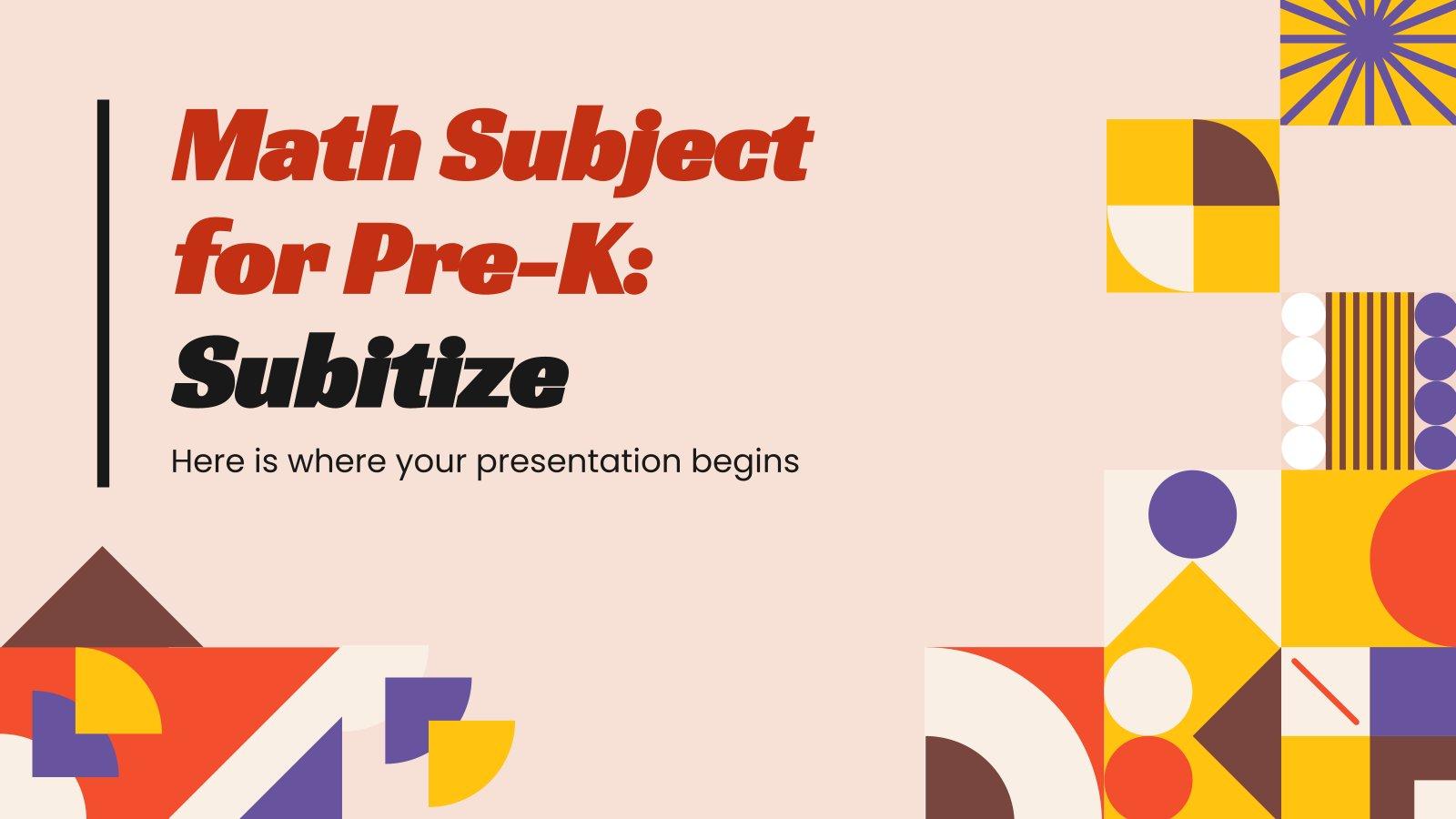 Plantilla de presentación Matemáticas para preescolar: subitización