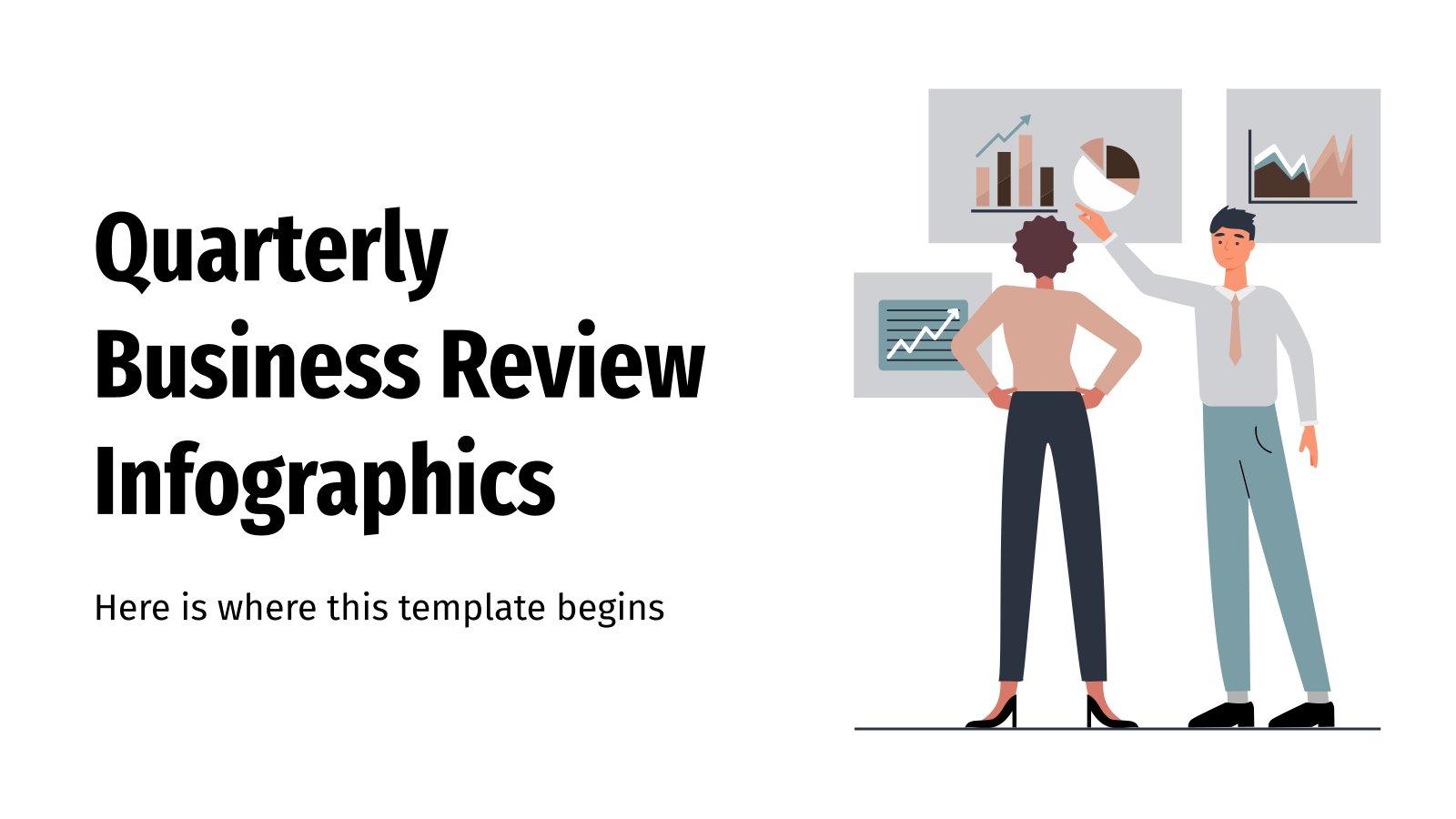 Modelo de apresentação Infográficos da revisão trimestral de negócios