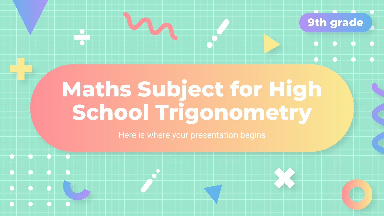 Plantilla de presentación Matemáticas para el instituto: trigonometría