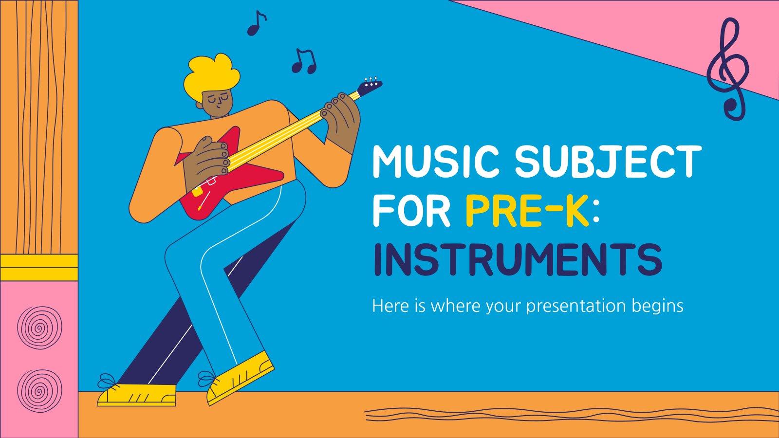 Modelo de apresentação Música para pré-escola: Instrumentos