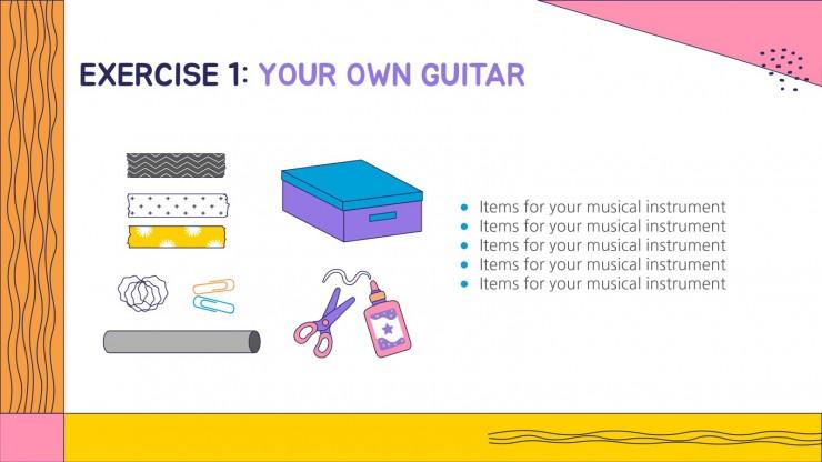 Plantilla de presentación Música para preescolar: los instrumentos