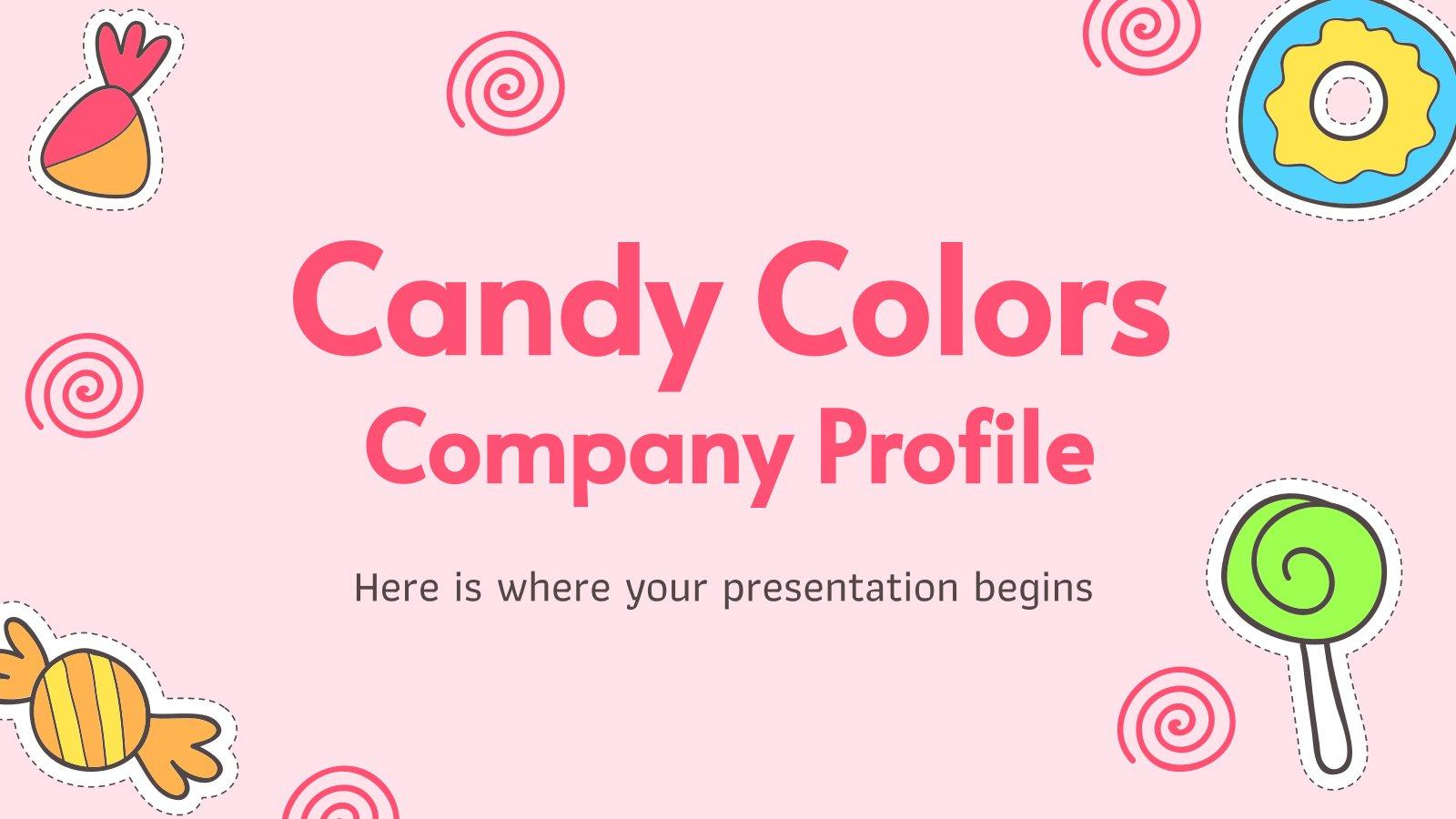 Plantilla de presentación Perfil de empresa con caramelos