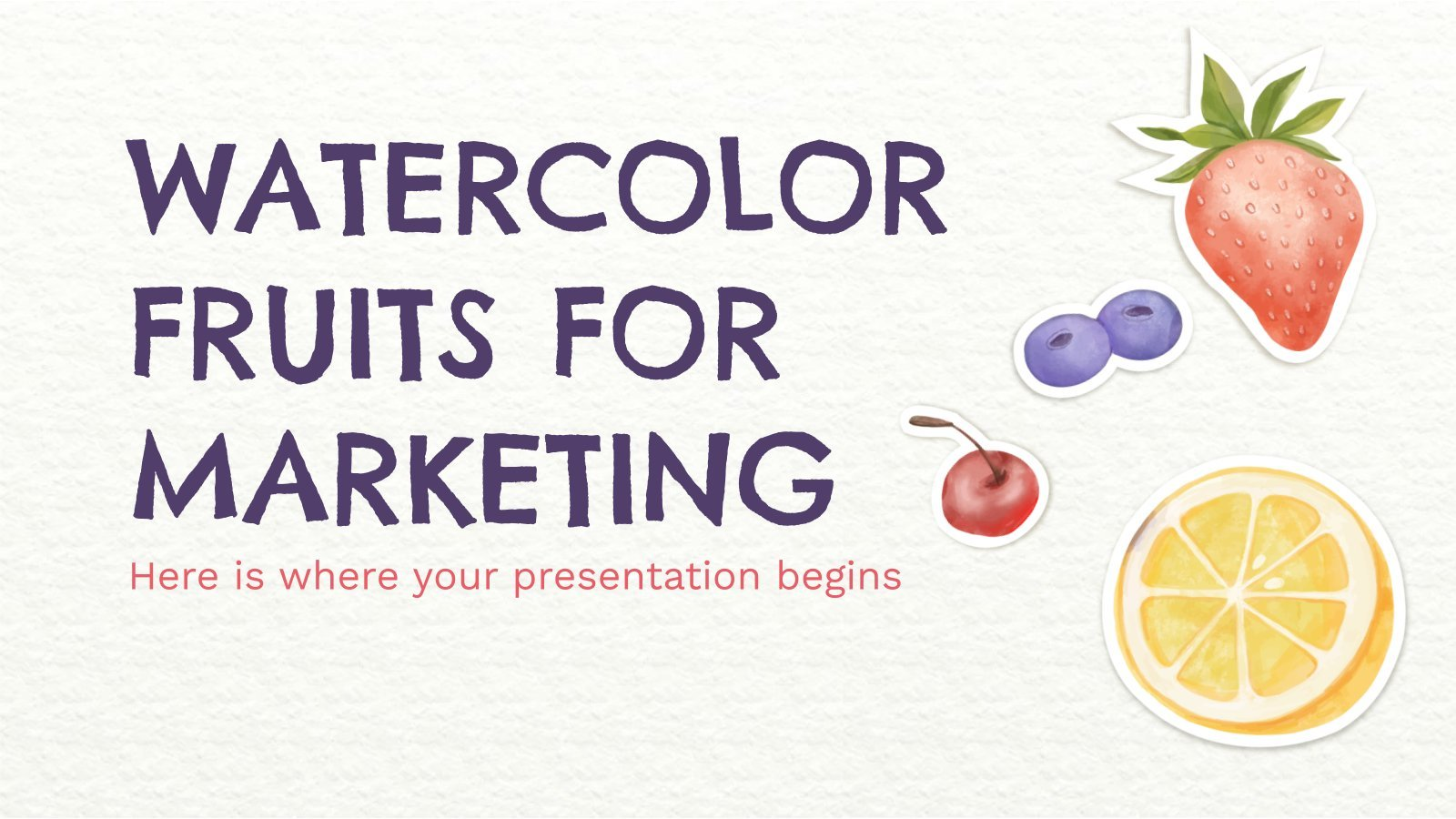 Plantilla de presentación Frutas en acuarela para marketing