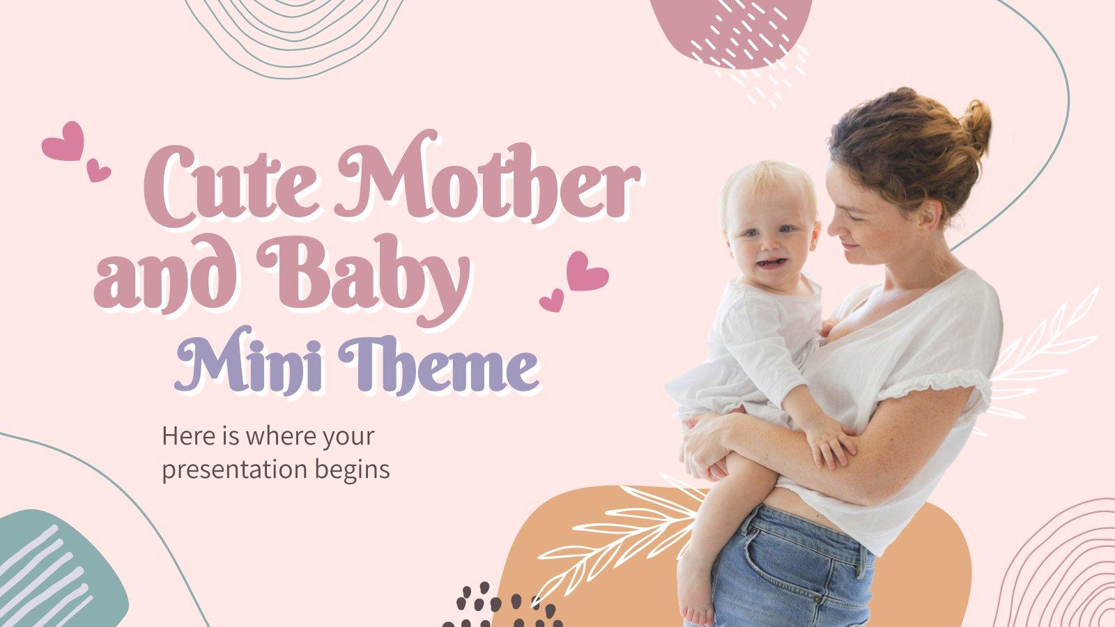 Niedliche Mutter und Baby Minitheme Präsentationsvorlage